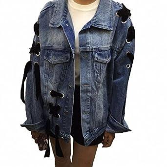 Denim Jacket For Women NEW Vogue Loose Bomber Jacket Long Sleeve Streetwear Jaqueta Feminina S~L