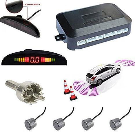 TKOOFN Universal KFZ Radar Aparcamiento Sensor Alarma Acustica Indicador LUZ Kit LED Marcha Atras Volumen Ajustable (4 Unidades , Gris)