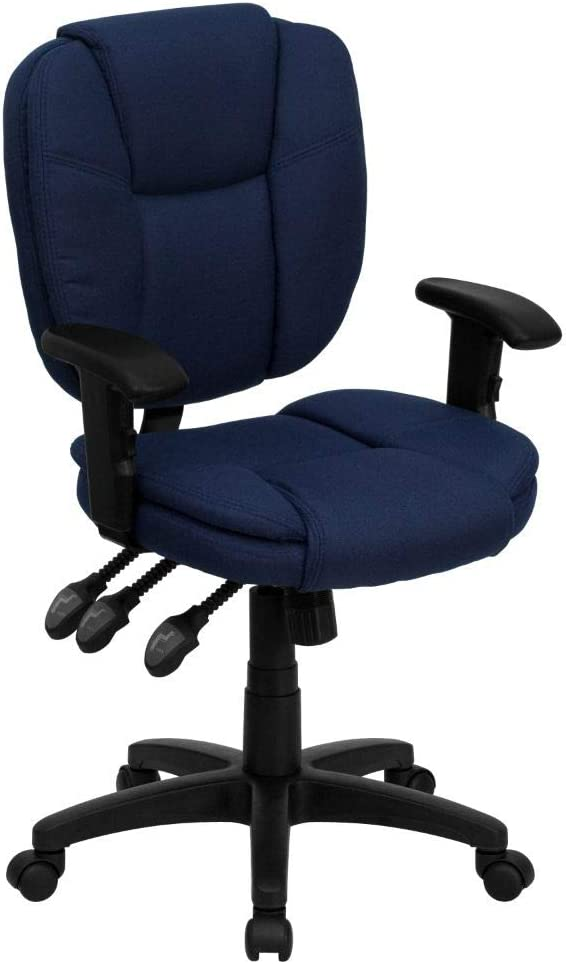 Flash Furniture Mid-Back Navy Blue Fabric Multifunction Swivel Ergonomic Task Office Chair with Pillow Top Cushioning and Arms