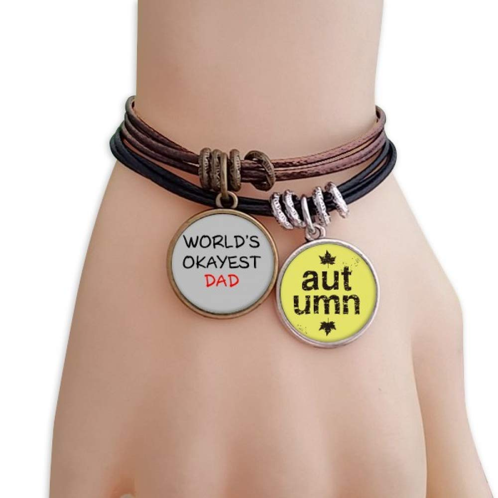 OFFbb-USA Worlds Okayest Dad Best Father Quote Bracelet Rope Wristband Autumn Season Leather Handmade