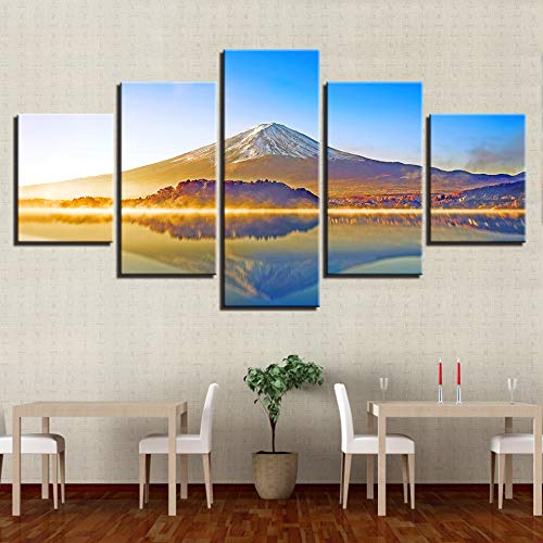 Kkxdp Framed Modular Poster Living Room Decor Framework 5 Pieces Mount Fuji Mountain Lake Scenery Canvas Pictures Wall Art Printed - Mountain Fuji Mount