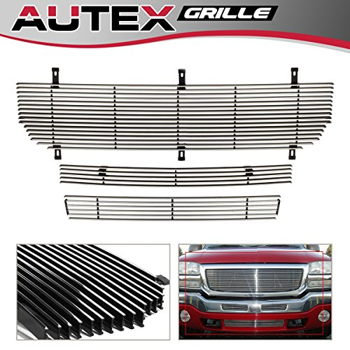 - AUTEX Polished Billet Grille Combo Insert Compatible With 2003 2004 2005 2006 GMC Sierra 1500/1500HD/2500HD/3500, 2003-2004 GMC Sierra 2500, 2007 Classic Sierra Grill G87978A
