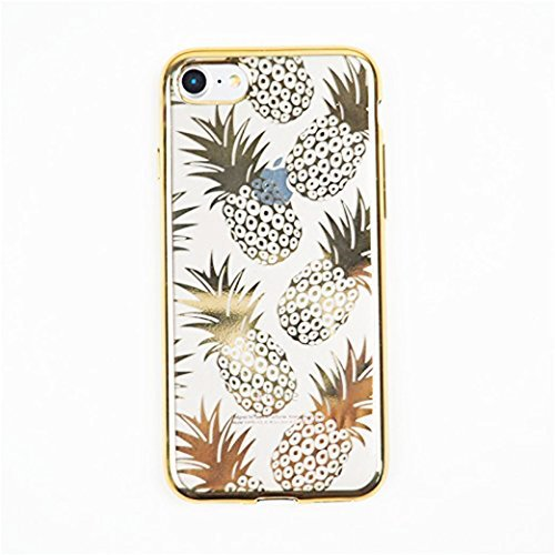 iPhone 6 Plus/ 6s Plus , Gold Shiny Pineapples Summer Happiness Stylish Translucent Soft Silicone Cover
