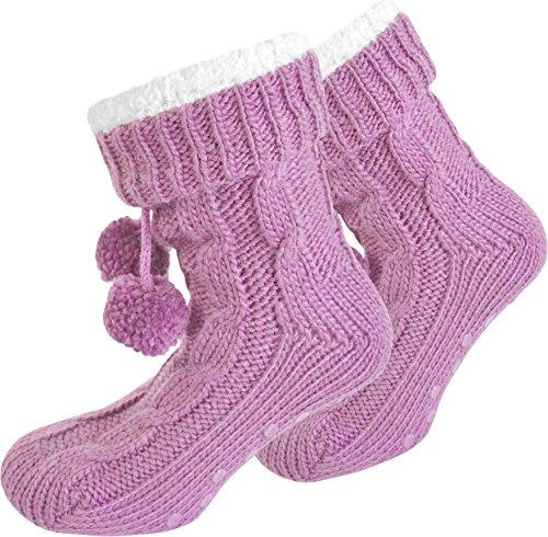 und Dicke Plüsch Bommeln Winter Pink mit Hausschuhe n8gq4wI8