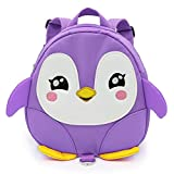 JIAN YA NA Baby Safety Anti-lost Backpack Toddler Cute Cartoon Penguin Walking Safety Backpack with Safety Leash Great Birthday Gifts for Aged 1-3 Years Little Boys Girls (Purple)