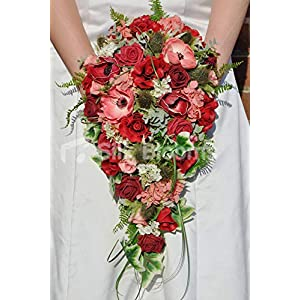 Silk Blooms Ltd Artificial Red Fresh Touch Rose and Anemone Cascade w/Thistles and Foliage 88