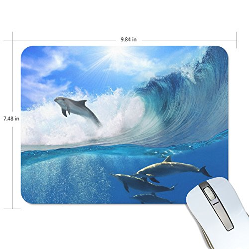 Personalized Mouse Pad Large Rectangle Gaming Mouse Pad Style Rubber Mousepad with Dolphin On The Water in 9.84