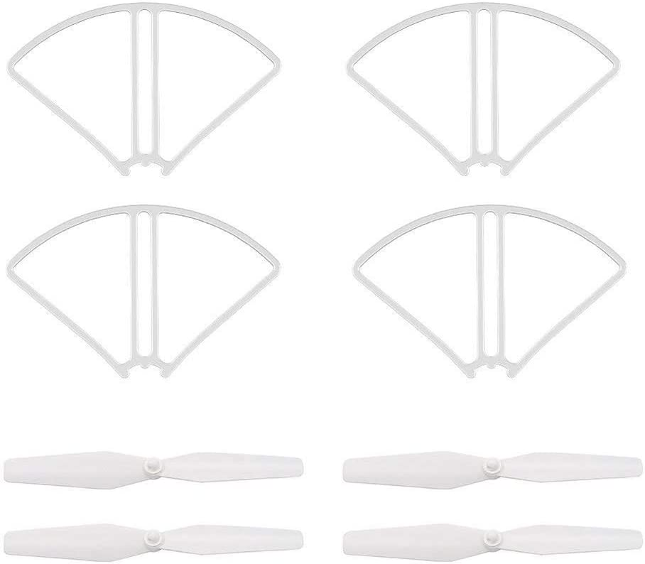 HANXIAOLONGA Propeller 2 Pair Propeller and 4 Protective Ring Set RC Drone Blades Spare Parts for SJR//C S20W Potensic T25 HS120D Quadcopter RC Drone Drone Accessories Spare parts