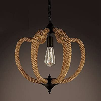 Retro Hemp Rope Chandelier Industrial Loft Decor Ceiling Fixture Pendant Lamp 43cm x 45cm