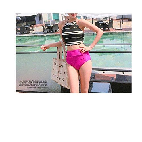 4c23a9a04c6 Amazon   LAセレブやハワイで大人気 レディース水着 ビキニ タンキニ ハイウエスト ボーダー柄 ママ水着 (L) [並行輸入品]   ビキニ・セパレーツ  通販