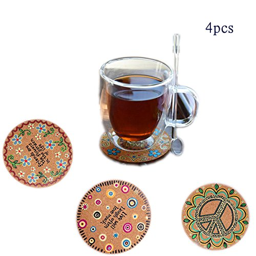 Round Walnut Activity Table - Cork Coasters 4-pieces Drink For Glasses Wooden Coffee Table Wood Coaster Set Round Office Home