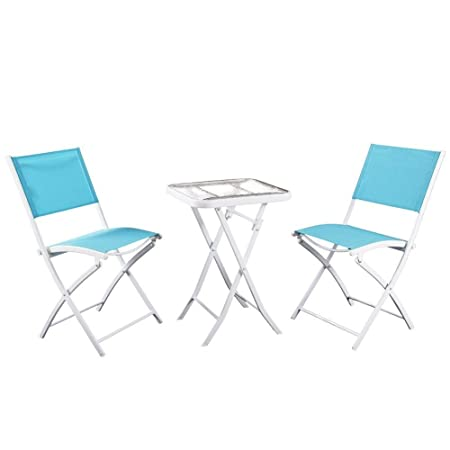 PHI VILLA 3 PC Textilene Portable Foldable Patio Chairs and Table Set, 2 Chairs 1 Table, Turquiose
