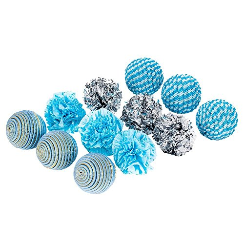 blueberry-pet-toys-for-cat-ocean-beach-theme-aquamarine-balls-cat-toy-12-piece-pack