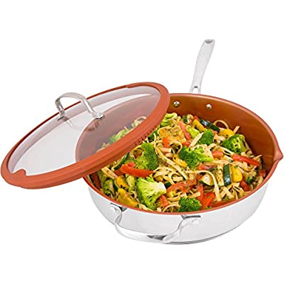 Nuwave 5 Quart Duralon Non-Stick Ceramic Cooking Pan with Lid- Multicolor