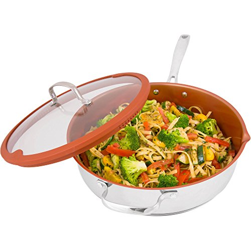 Nuwave 5 Quart Duralon Non-Stick Ceramic Cooking Pan with Lid- Multicolor (Nuwave Cast Iron Grill Pan compare prices)
