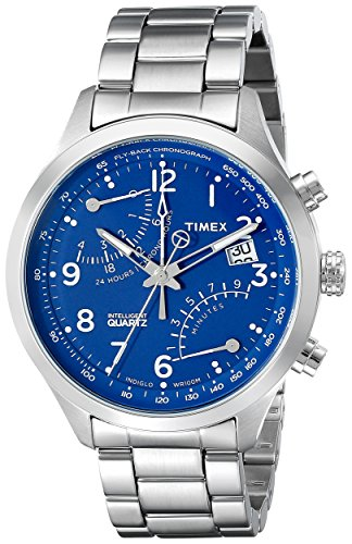 Timex Men's TW2P60600 Intelligent Quartz Fly-Back Chronograph Silver-Tone/Blue Stainless Steel Bracelet Watch