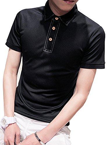 Heaven Days(ヘブンデイズ) ポロシャツ ゴルフウェア ゴルフシャツ ステッチ 木ボタン 半袖 メンズ 1708F0162