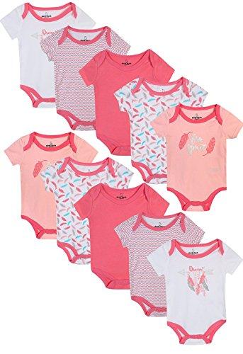Girl\'s Short Sleeve Bodysuits (10 Pack) Free Spirit, 6-9 Months' (Baby Jammies)