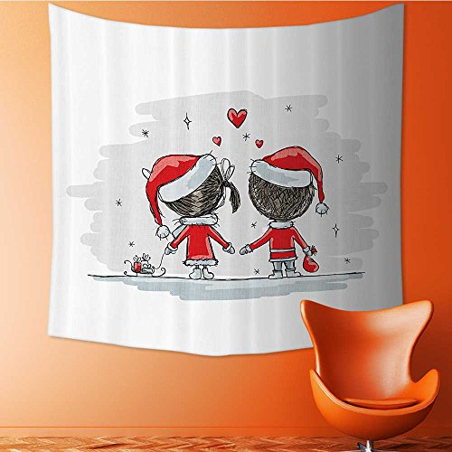 Nalahomeqq Christmas Decorations Custom tapestry by Soul Mates Love Couples With Santa Costumes Family Romance Winter Night Picture drawing room Decoration Red White 59 W x 83 L INCH