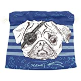 Dragon Sword Illustration Of Pirate Pug Dog Gift Bags Jewelry Drawstring Pouches for Wedding Party, 5.5x5.5 Inch