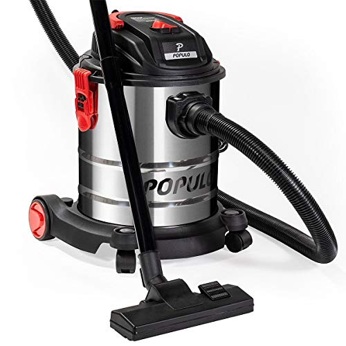 Populo 5.5 Peak HP 5 Gallon Wet and Dry Vacuum Stainless Steel Bucket 3-Functions Vacuum Dry/Wet/Blow with Wheel by populo (Image #2)