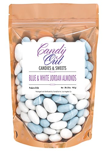 Light Blue and White Jordan Almonds 2 Pound in Stand Up Bag