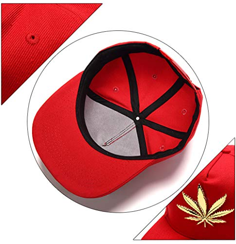 la HipHop cuero Weed Hombre PU de MCSAYS plano del de sombrero de Leaf Snapback de Rojo gorra ala algodón de béisbol del marihuana xtF5wF4Y