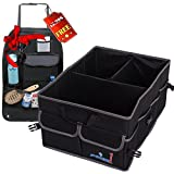 Trunk Organizer for Car, Heavy Duty Cargo Storage Bag, Non-Slip Bottom Strips to Prevent Sliding, For Car SUV, Truck, Incl Bonus Backseat Organizer