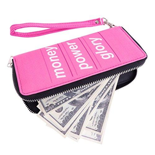 Portafoglio moda per Holder Uomo Donna Cash cerniera carta della borsa Money Power Glory [050]
