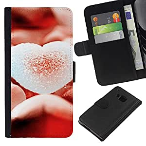 KLONGSHOP // Tirón de la caja Cartera de cuero con ranuras para tarjetas - Corazón del amor Sugary - HTC One M9 //