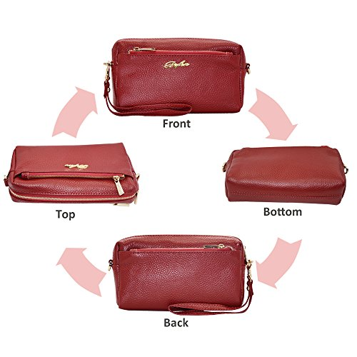 Tripple Women Leather Grain Bag Cell Purse Wallet Bag Zip Red Crossbody Phone Wristlet Phone Burgundy Befen Full Crossbody FIpwqdd