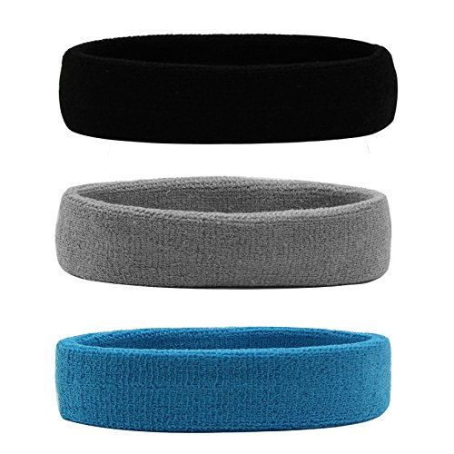 Hanerdun Sports Sweatbands Headbands Breathable Cotton Terry Cloth Sweat Head Bands For Men And Women Running Work out Yoga Exercise Tennis, Black/Gray/Skyblue(3 pieces), One Size