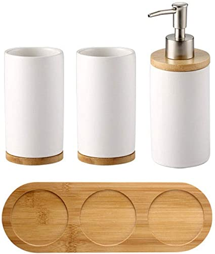 Qqzq Bathroom Accessories Set 4 Piece Bath Ensemble Includes Soap Dispenser Toothbrush Holder Tumbler Wooden Pallet Color White Amazon Co Uk Kitchen Home