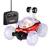 RC Car 360 Degree Spinning and Flips,Multifunctional Rechargeable RC Acrobatic Stunt Car with LED Lights and Music(Red)