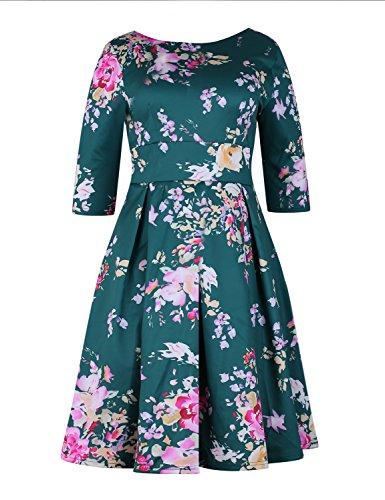 XAKALAKA Women's 1950s Vintage Floral Garden Tea Party Dress with Mesh Petticoat Green XXL ()