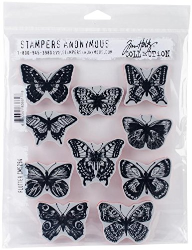 Art Gone Wild Agcms294 Tim Holtz Flutter Cling Rubber Stamp Set, Multi Colour by Amazon