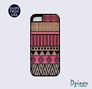 iPhone 5 5s Tough Case - Wood Red Aztec Pattern iPhone Cover (NOT REAL WOOD)