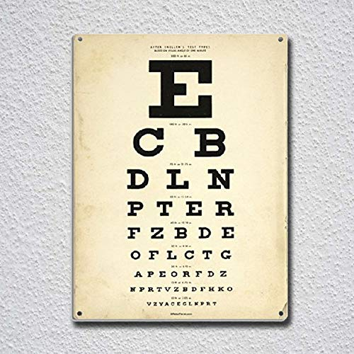 Eye Chart Tin Sign Metal Sign TIN Sign 7.8X11.8 INCH ()