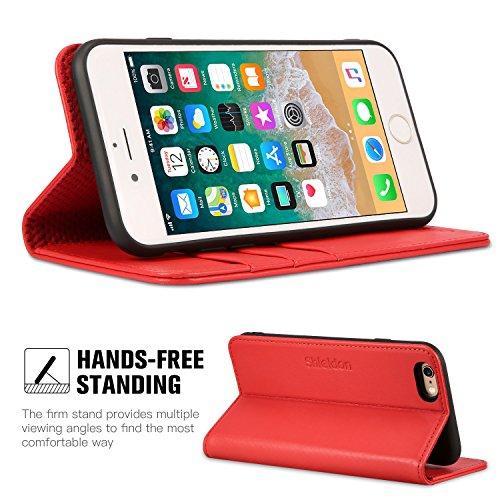 Funda iPhone 6S, SHIELDON Funda iPhone 6S Piel Resistente con Billetera para Tarjetas, Amortiguación de TPU Interior Suave, Carcasa en Libro, Soporte Plegable para Apple iPhone 6S/6 (4.7) - Rojo Rojo