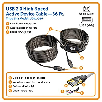 Tripp Lite USB-A to USB-B Active Repeater Printer Cable M//M 30ft 30 U042-030