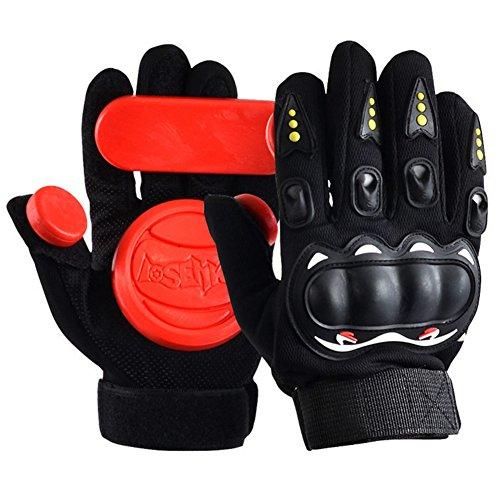 Seroda Slide Glove Longboard Gloves,Adult Skateboard Protective Gloves with Three Slide Pucks