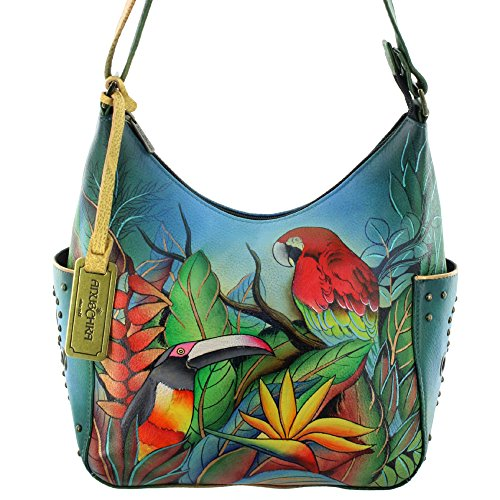 Anuschka Hand Painted Genuine Leather Hobo Handbag (Tropi...
