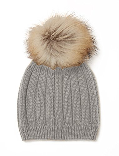 MIUK 2017 Nre Womens 100% Cashmere Beanie Stretch Cable Knit Pompon Chunky Hat - Cable 100% Cashmere