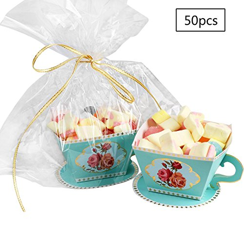E-Goal 50PCS/Pack Mini Teacup Shape Wedding Favors Candy Boxes Gift Box Party Favor Boxes with Ribbons for Wedding,Tea Time Party Decorations, (Tea Party Ribbons)
