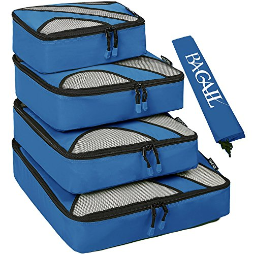 4 Set Packing Cubes,Travel Luggage Packing Organizers with Laundry Bag Dark - For Items Needed Camping