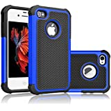 iPhone 5S Case, iPhone SE Case, Tekcoo(TM) [Tmajor Series] [Blue/Black] iPhone 5 5S SE 5SE Case Shock Absorbing Hybrid Defender Rugged Cover Skin Shell Hard Plastic Outer & Rubber Silicone Inner