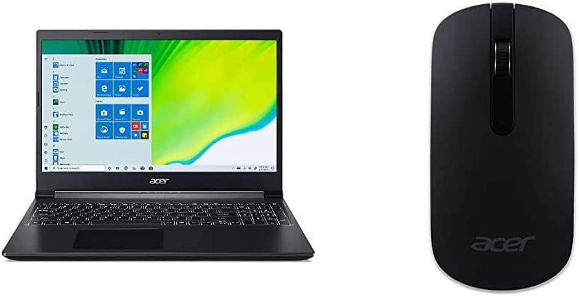 """Acer Aspire 7 Laptop, 15.6"""" Full HD IPS Display, AMD Ryzen 5 3550H, NVIDIA GeForce GTX 1650, 8GB DDR4, 512GB NVMe SSD, Windows 10 Home, A715-41G-R7X4 with Slim Wireless Optical Mouse - Black"""