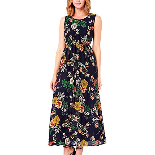 AIRCATMODE Womens Floral Tank Maxi Dress Sleeveless Casual Summer Beach Long Dress