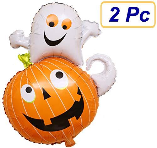 SUKRAGRAHA Reusable Aluminum Foil Auto-sealing Ghost Pumpkin Friend Halloween Toy Balloon 2 pc