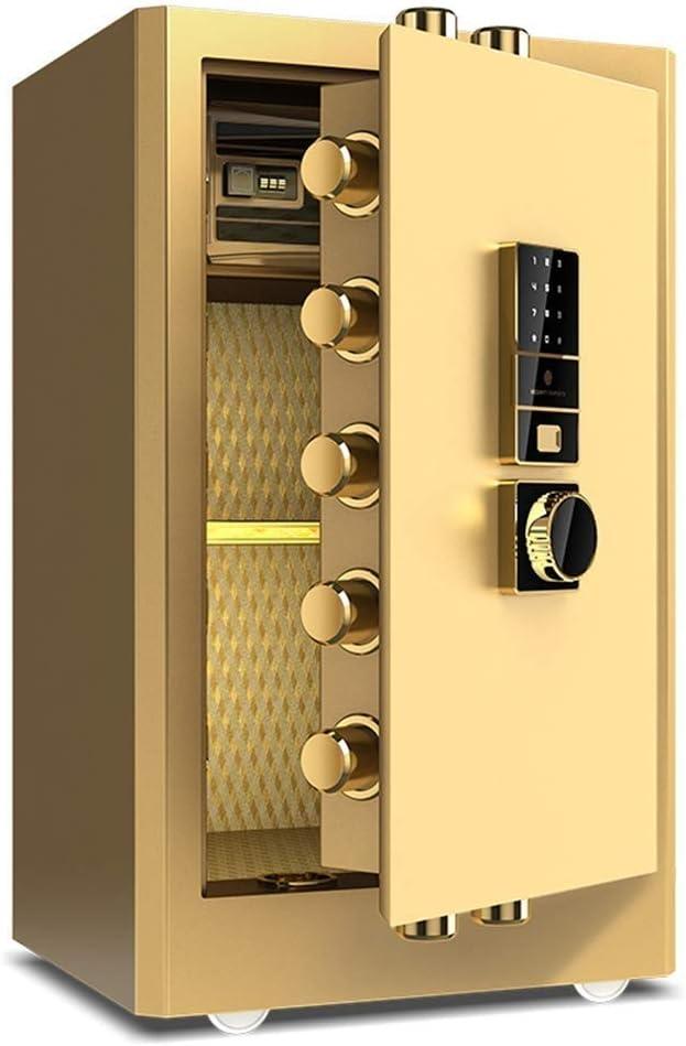 CHUXJ Caja Fuerte Digital, Huella Digital biométrico Seguro de la Cerradura Cash Box Fuerte con el número de Teclas de Emergencia Bloqueo Seguro (Color : Gold): Amazon.es: Hogar